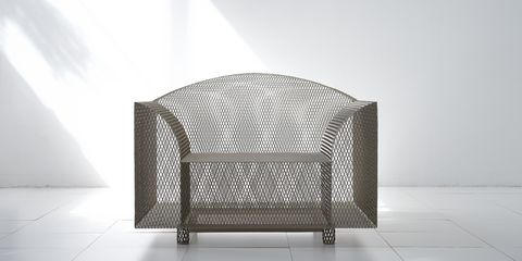 Furniture, Product, Chair, Metal, Architecture, Table, Club chair, Silver, Armrest, Outdoor furniture,
