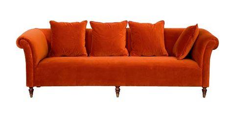 sofá chester de terciopelo naranja