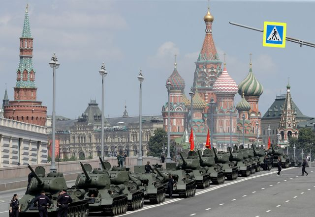 dress rehearsal of victory day military parade held in moscow