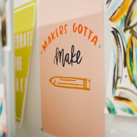 Text, Yellow, Orange, Font, Room, Design, Graphic design, Illustration, Paper, Art,