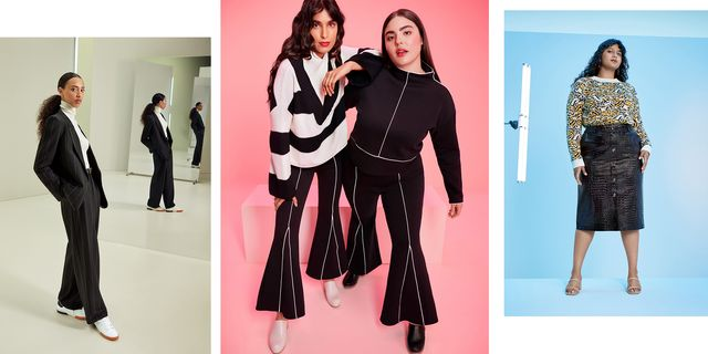 four models wearing full looks from target's upcoming designer collaborations, including nili lotan, rachel comey, and victor glemaud
