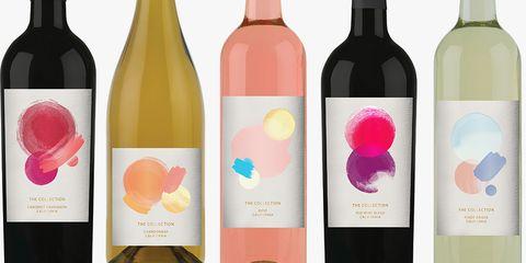 Bottle, Wine bottle, Glass bottle, Drink, Alcohol, Product, Pink, Label, Wine, Plastic bottle,