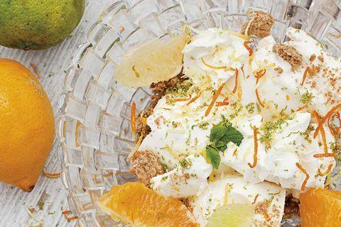 tarta de queso y cítricos semicongelados