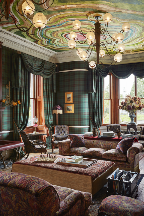 tartan wall decor ideas veranda
