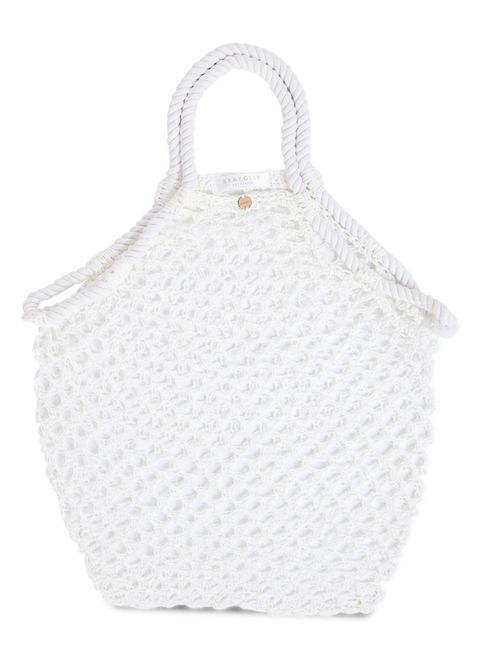 Product, White, Bag, Grey, Peach, Creative arts, Crochet, Craft, Pattern, Home accessories,