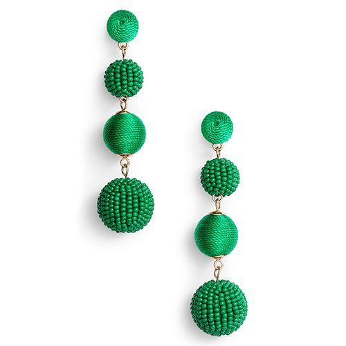 tasha green ball drop earrings