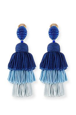 Oscar de la Renta Long Silk Tiered Tassel Clip-On Earrings