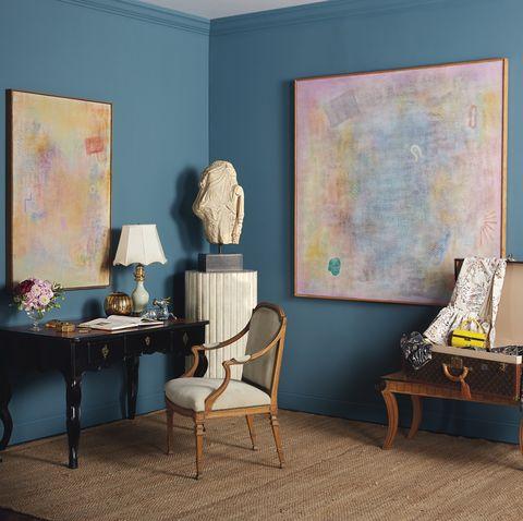 Room, Blue, Furniture, Interior design, Yellow, Turquoise, Living room, Wall, Floor, Azure,