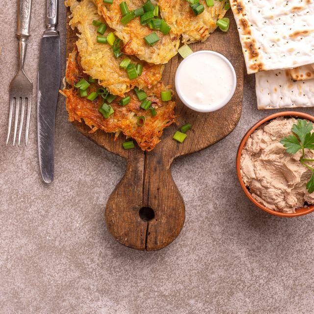 tasty hanukkah celebration food on vintage cutting board