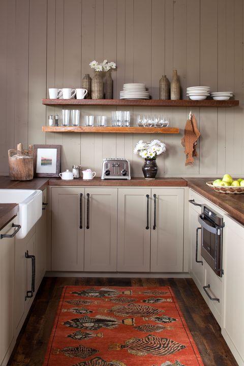 Room, Furniture, Kitchen, Countertop, Cabinetry, Floor, Property, Interior design, Shelf, Building,