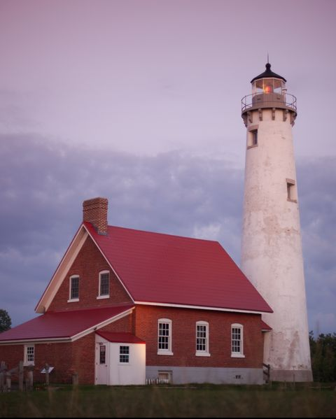 Tawas Point Lighthouse at dusk