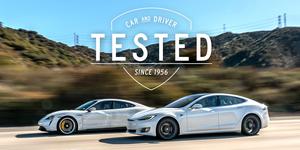 Porsche Taycan and Tesla Model S range test