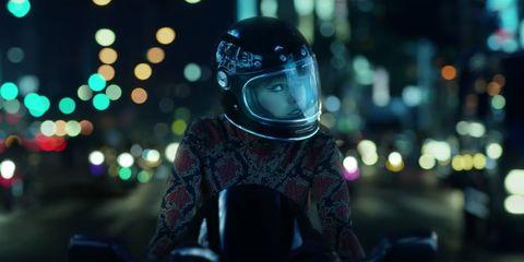 Helmet, Motorcycle helmet, Personal protective equipment, Light, Headgear, Photography, Night, Reflection, Space, Darkness,