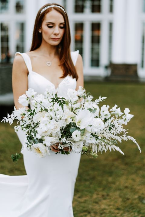 Bouquet, White, Flower Arranging, Photograph, Dress, Flower, Bride, Wedding dress, Gown, Floristry,