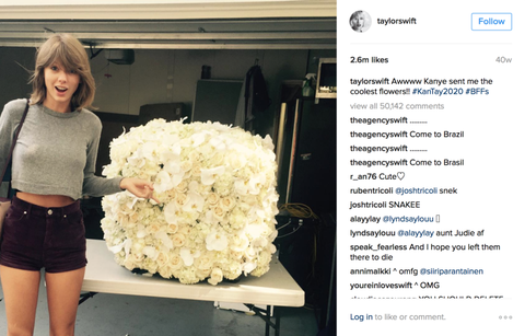 Taylor Swift with a bouquet of flowers