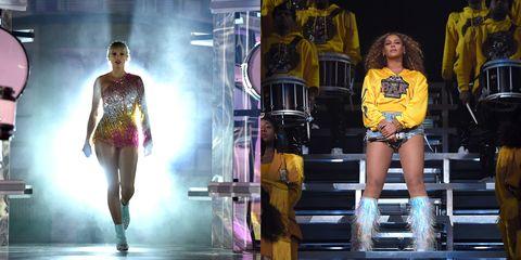Fashion model, Fashion, Yellow, Leg, Thigh, Fashion show, Fashion design, Performance, Event, Human leg,