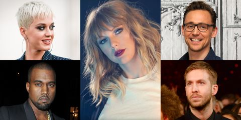 Katy Perry, Kanye West, Taylor Swift, Tom Hiddleston, and Calvin Harris