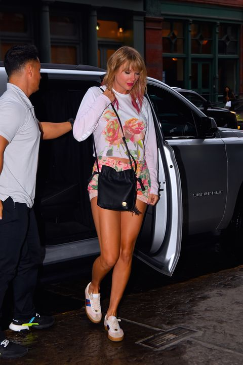 03d8f367345 Taylor Swift Wore a Pastel Tie-Dye Jean Jacket Out in New York City