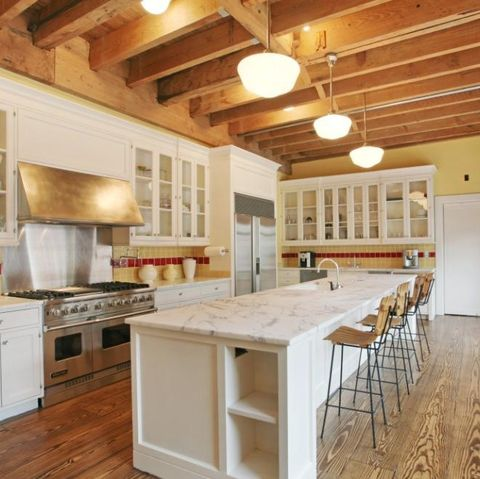 Countertop, Property, Room, Furniture, Kitchen, Cabinetry, Building, Ceiling, Wood flooring, Interior design,
