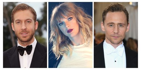 calvin harris, taylor swift, and tom hiddleston