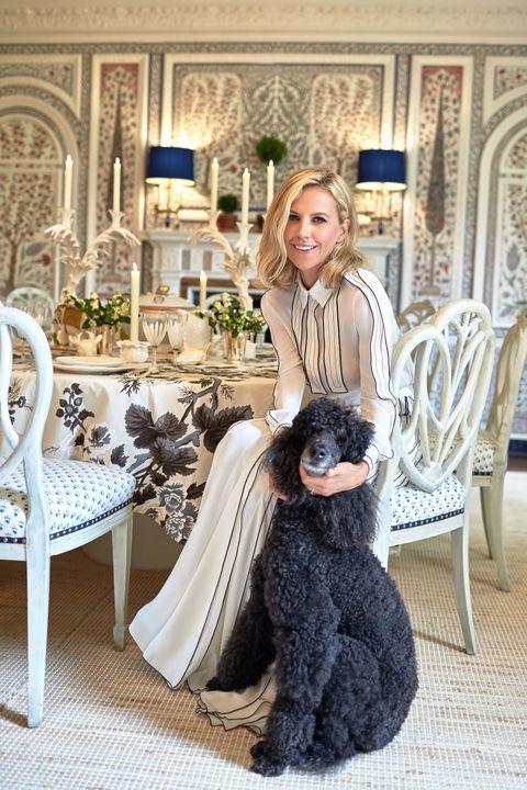 Fur, Room, Fashion, Dress, Furniture, Table, Sitting, Long hair, Interior design, Formal wear,