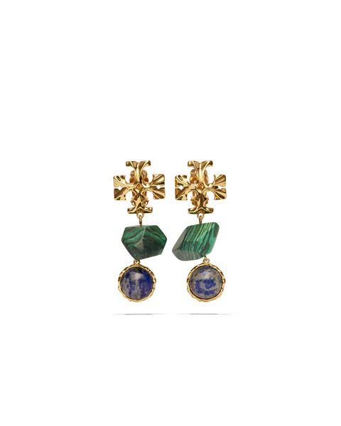 tory burch roxanne semi precious gold gem drop earrings