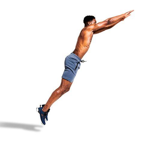 Finger, Human leg, Shoulder, Elbow, Wrist, Joint, Standing, Knee, Barechested, Shorts,