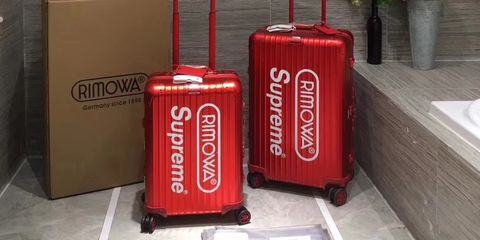 Suitcase, Red, Hand luggage, Material property, Baggage,