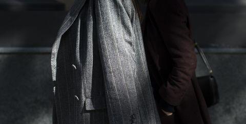 Textile, Black, Grey, Street fashion, Pocket, Costume design, Leather, Silk, Mantle,
