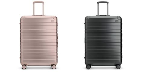 Suitcase, Hand luggage, Baggage, Product, Bag, Luggage and bags, Rolling, Automotive wheel system, Wheel, Aluminium,