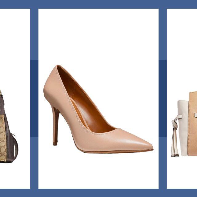 Footwear, Bag, Handbag, Brown, Shoe, High heels, Fashion accessory, Beige, Brand, Caramel color,