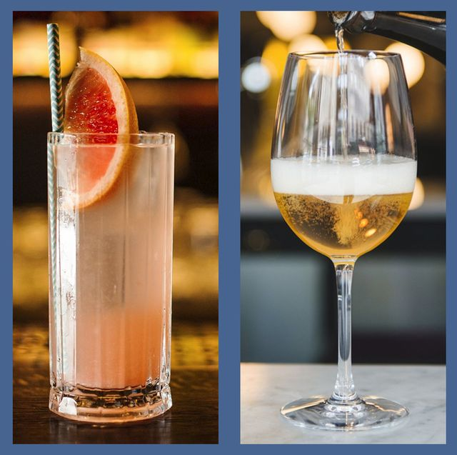 Drink, Champagne cocktail, Classic cocktail, Alcoholic beverage, Distilled beverage, Cocktail, Wine cocktail, Cocktail garnish, Beer cocktail, French 75,