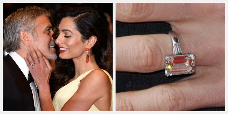 Amal Clooney's 7-carat emerald cut engagement ring was given to her by George in 2014.