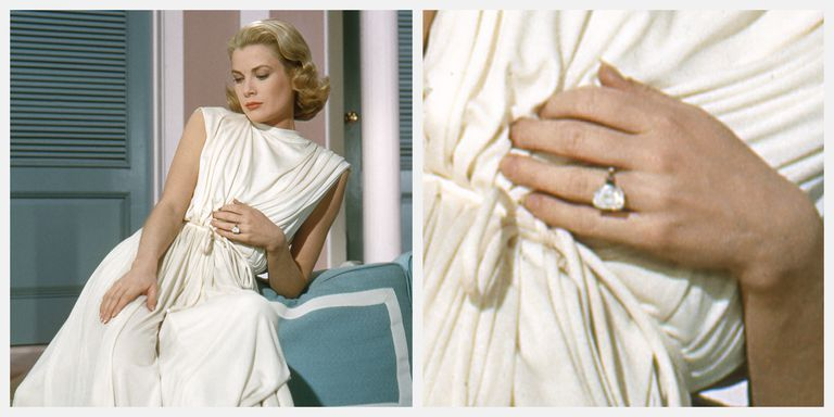 Grace Kelly wore her 10.47-carat emerald cut Cartier engagement ring in the movie High Society .