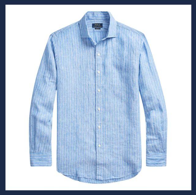 Clothing, Shirt, Sleeve, Denim, Dress shirt, Collar, Jeans, Button, Textile, Pattern,