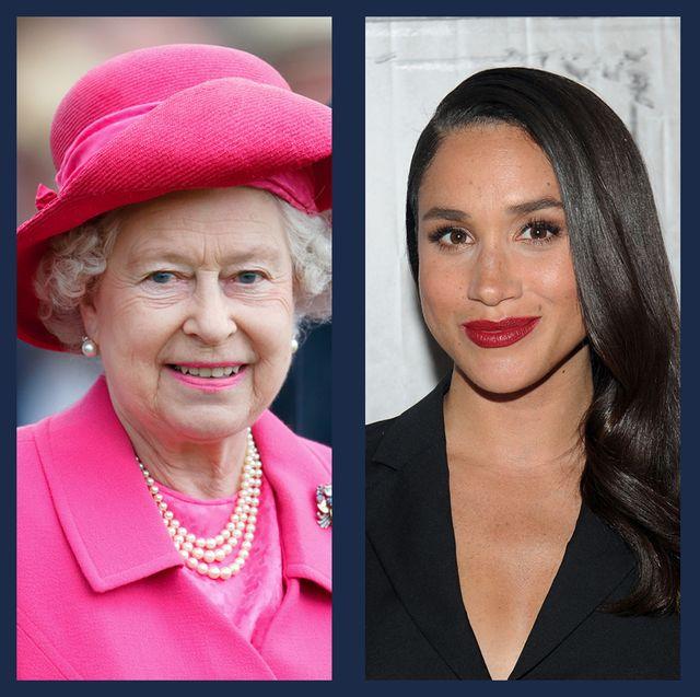 royal in bright lipstick