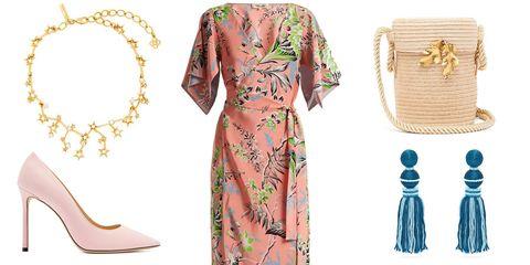 Clothing, Dress, Pink, Day dress, Sleeve, Yellow, Fashion, Neck, Peach, Pattern,