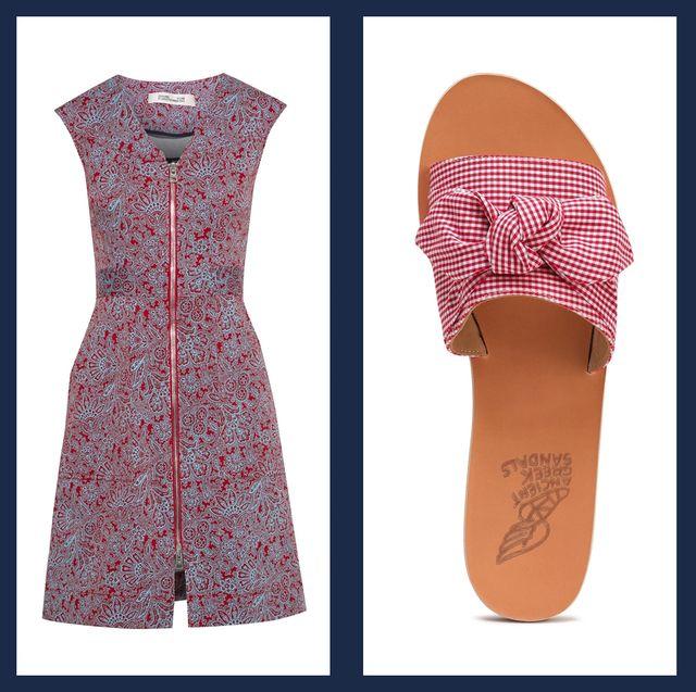 Clothing, Footwear, Orange, Dress, Shoe, Peach, Pattern,