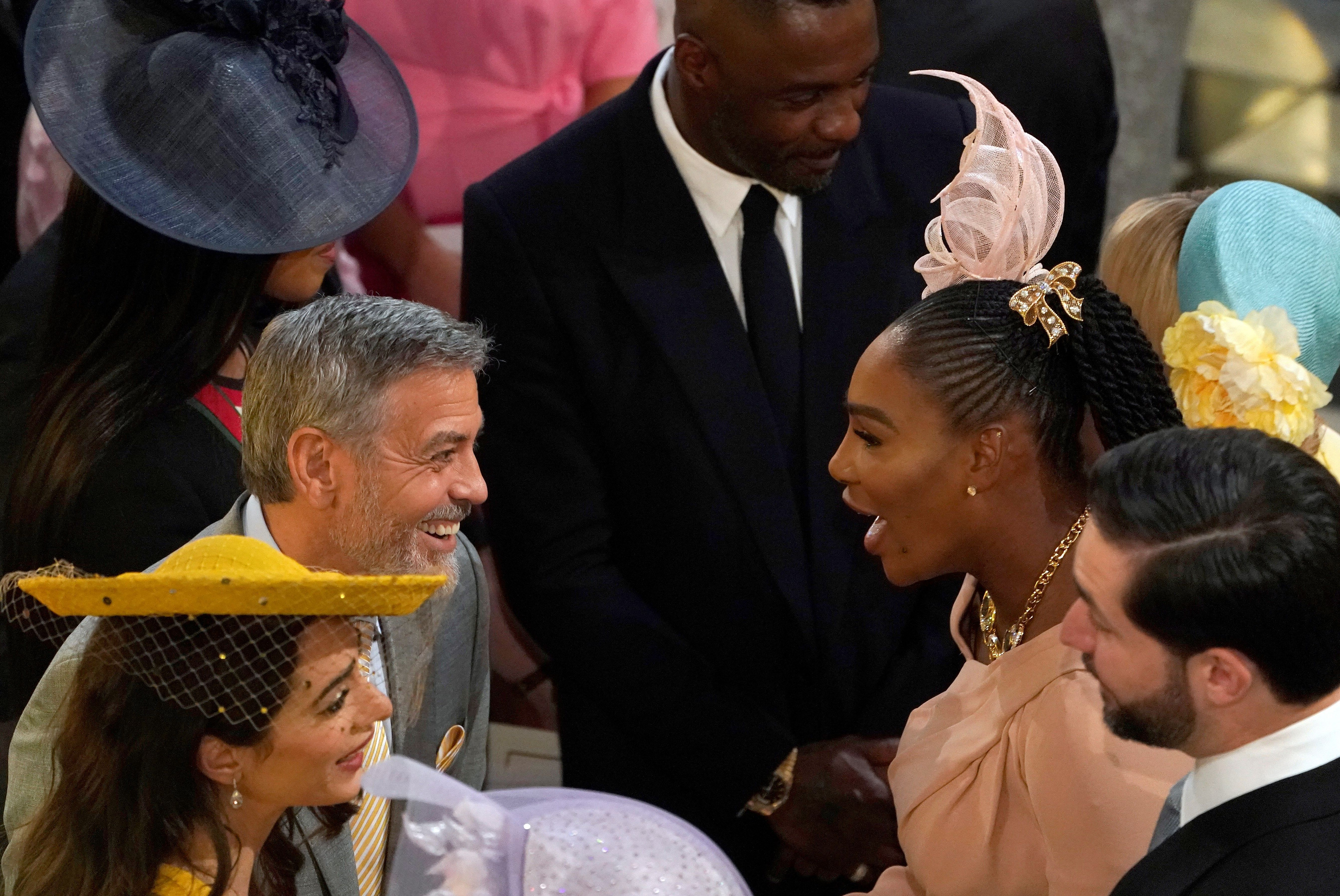 You might expect the marriage between a prince and a respected actress to be an A-list event, but the guests really pulled out the stops for the big day. George and Amal Clooney , Serena Williams and her husband Alexis Ohanian, and Idris Elba and his fiancee Sabrina Dhowre all turned up in their most gorgeous spring wedding fare ( and fascinators, of course .)