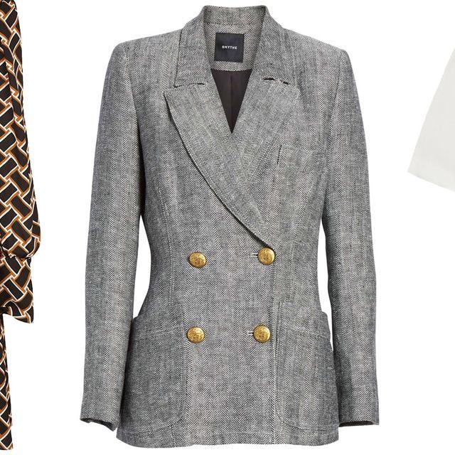 Clothing, White, Outerwear, Blazer, Jacket, Sleeve, Overcoat, Suit, Coat, Pattern,