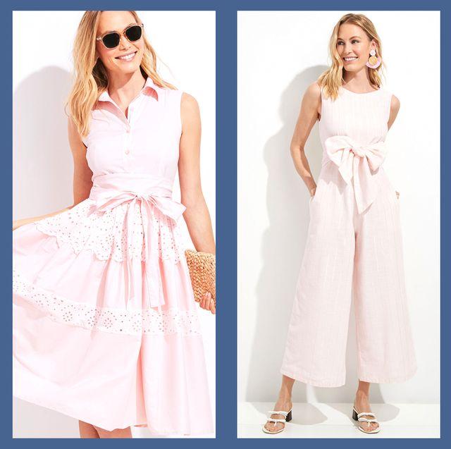 Clothing, Dress, White, Pink, Fashion model, Day dress, Shoulder, Fashion, Gown, Pattern,