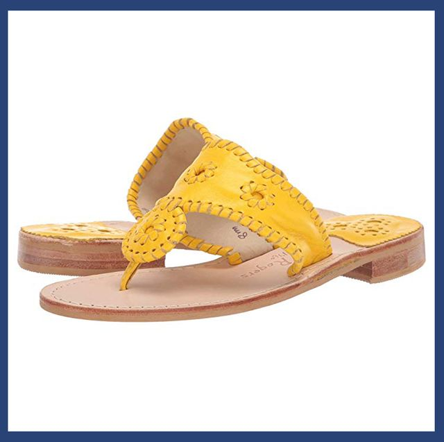 Footwear, Sandal, Shoe, Yellow, Brown, Font, Slide sandal, Beige, Brand, Wedge,