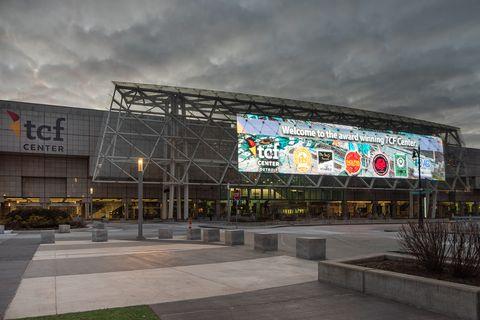 Building, Architecture, Sport venue, Facade, Stadium, Metropolitan area, City, Shopping mall, Mixed-use, Commercial building,