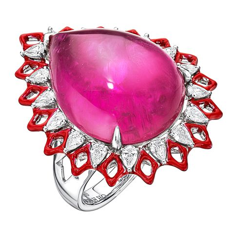 Jewellery, Gemstone, Ring, Ruby, Fashion accessory, Body jewelry, Pink, Magenta, Engagement ring, Silver,