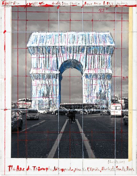 Christo Arc de Triomphe proposal rendering