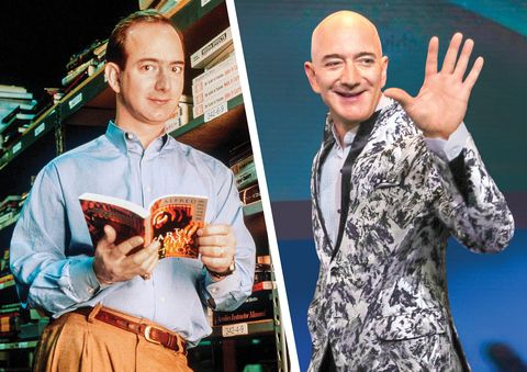 Jeff Bezos in 1987 and in 2020