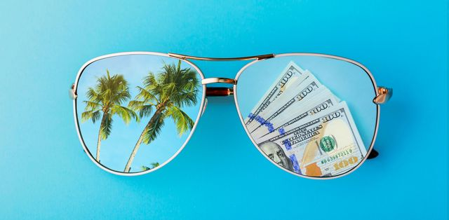 shades with reflected money