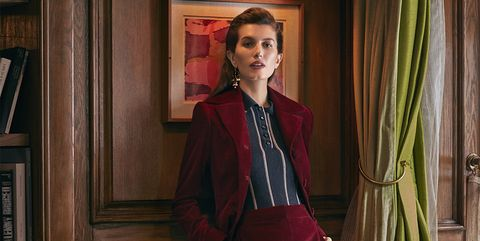 Clothing, Suit, Red, Formal wear, Pantsuit, Fashion, Maroon, Photo shoot, Velvet, Outerwear,