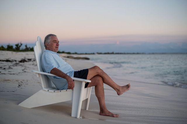 robert de niro on the beach in barbuda