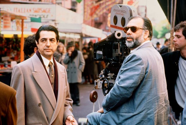 joe mantegna and francis ford coppola on the set of godfather iii